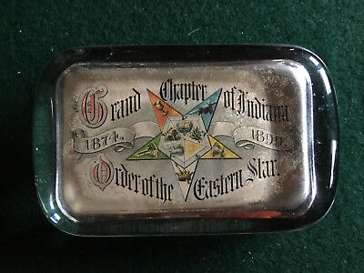 Vintage Order of Eastern Star Glass Paperweight Indiana Chapter 1874-1899