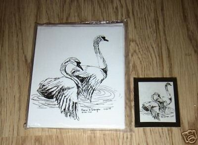 Pair of Swans 2 Pc Set- 6 Blank Notecards & Linen Style Envelopes & Magnet - New