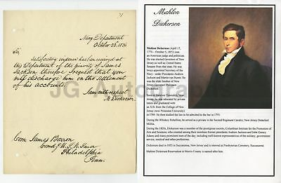 Mahlon Dickerson - U.S. Secretary of the Navy Authentic Autographed Letter 1836