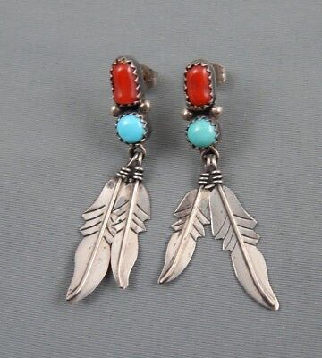 Vintage NOS Native American Sterling Silver Coral & Turquoise Feather Earrings