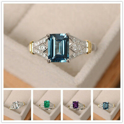 New Elegant Women 925 Silver Wedding Rings Emerald Cut Birthstone Ring Size 6-10