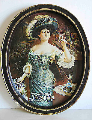 """PEPSI COLA Oval Serving Tray 1970s Repro 1909 Ad Victorian Lady 11.5x15"""" FREE SH"""