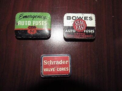 lot of 3 Phillips 66 Auto fuses tin & others