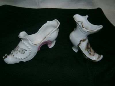 2 Antique Victorian Era  Fine China Collectable Shoes - Portrait Of Lady.