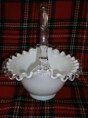 Vintage Fenton Opaque Milk Glass Basket Bowl Ornament With Frilled Edging