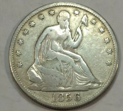 1856-O VG Seated Liberty silver half dollar. Pale from light old cleaning.