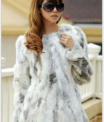 Women's Chic Faux Rabbit Fur Coat Nature Casual Overcoat Winter Round Collar WU