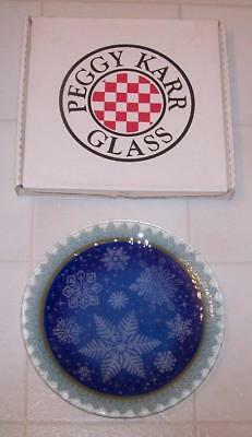 """Peggy Karr Plate - Snowflakes - 11"""" - with Box- Signed"""