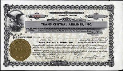 Trans Central Airlines, Inc., Of Colorado, Uncancelled Stock Certificate
