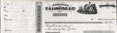 Banking House  P.a. Lamping & Co, Downieville, Ca, 186-, Certificate Of Deposit