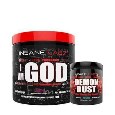 Insane Labz Heaven & Hell Stack Demon Dust I Am God high energy pre workout