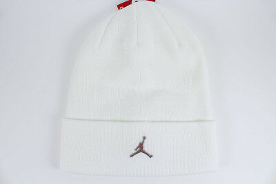 6796716884de8 Nike Jordan Beanie White Silver Metal Jumpman Dri-Fit Cuff Hat Cap Adult Men