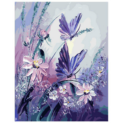 DIY Flower Butterfly By Numbers Kit Oil Painting Canvas Picture Home Room Decor