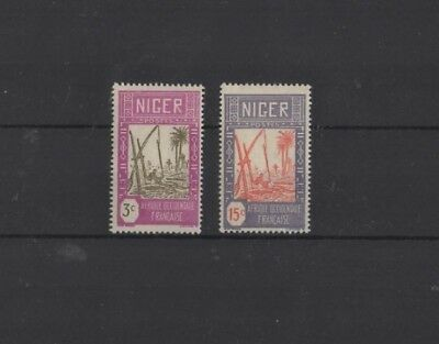 NIGER , 1926, SG31 TYPE 3 3c BROWN & MAUVE AND SG36 15c RED & LILAC, MH