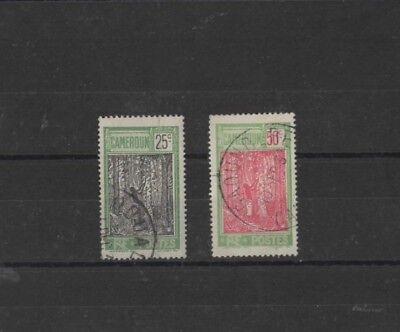 CAMEROON , 1925, SG75 25c BLACK & GREEN AND SG80 50c RED & GREEN, USED....