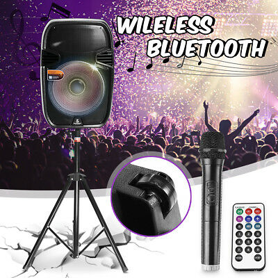 "15"" Portable Bluetooth PA SYSTEM KARAOKE DJ Dancer SPEAKER w/ Microphone & Stand"