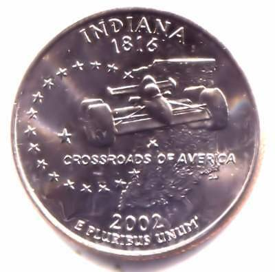 BU Indiana Indianapolis 500 Indy Car State Quarter 2002 D Coin - Denver Mint