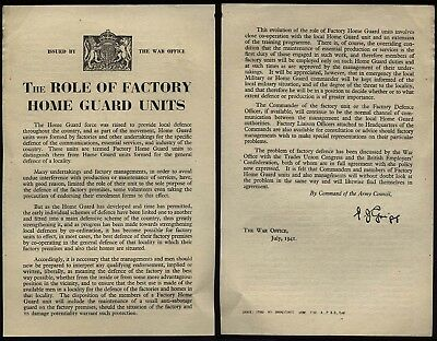 1941 DADS ARMY- Original War Office Notice THE ROLE OF FACTORY HOME GUARD UNITS