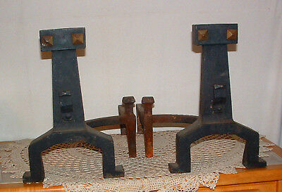 Vtg Antique Cast Iron Fireplace Andirons Rostand  Mission Arts and Crafts Pair