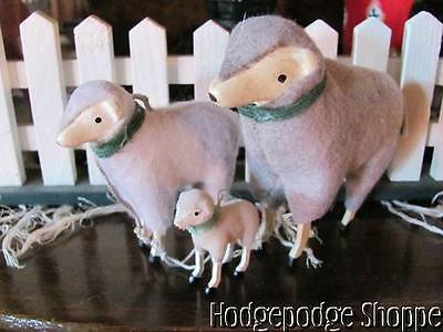 "NEW~ Antique German Repro Putz Sheep Trio,4"", 3"", & 1.5"" Green Collars,Wood Legs"