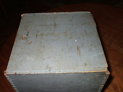 Early Extremely Rare 1818 BOSTON, Wooden Seed Box Original Blue Paint ,Stencil