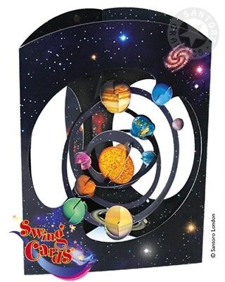 Deluxe Girls & Boys Birthday Card Solar System Planets Space 3D Swing Pop Up