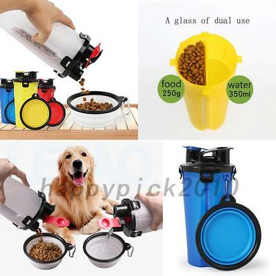 2 in 1 Dog Drinking Water Bottle Bowl Pet Outdoor Food Container Travel Cup Hot
