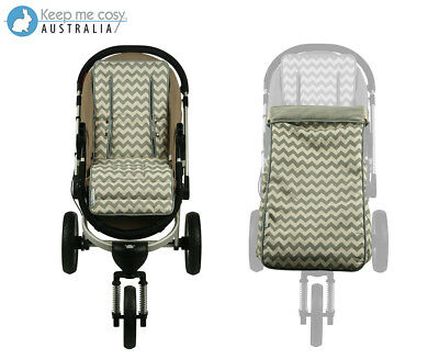 Keep Me Cosy 2-in-1 Toddler Footmuff & Pram Liner Set - Grey Chevron