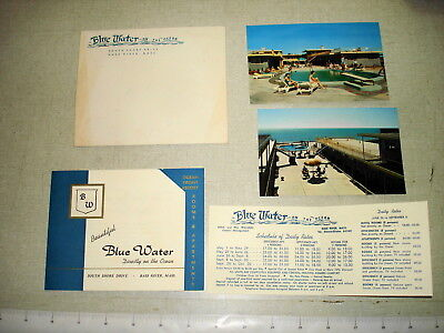 c1955 BLUE WATER RESORT Bass River MA Tourist Brochure w 2 Post Cards