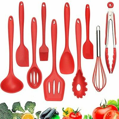 Silicone Kitchen Utensil 10-Pack Set, Silicone Heat-Resistant Non-Stick Kitchen