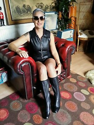 Vintage 60's Style faux Leather Hot Pants Gogo Playsuit.Psyche Freakbeat.Size 10