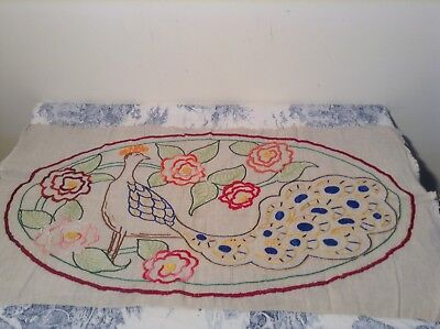 VINTAGE FRENCH PEACOCK EMBROIDERY TAPESTRY Cushions, Upholstery (2370)