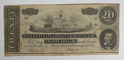 BARGAIN US Confederate Currency Act of February 17, 1864 $20 VERY FINE T-67