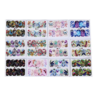 12patterns water decals nail art transfer stickers butterfly manicure decor TO
