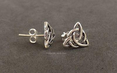 925 Sterling Silver Double Triquetra Stud Earrings Celtic Trinity Knot Goddess