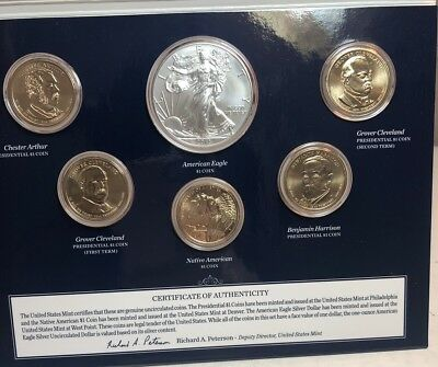 2012 US Mint Annual Uncirculated Dollar silver eagle 6 Coin Set