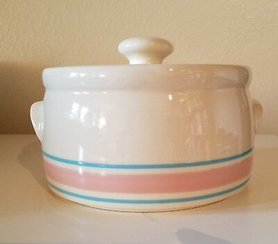 Vintage McCoy Nelson Pottery Pink & Blue striped 2 qt Round Covered Casserole