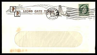 Lions Gate Times Vancouver Bc Dec 4 1959 Single Franked Open Window Ad Cover