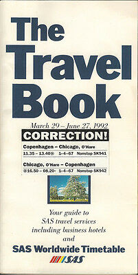 SAS Scandinavian Airlines system timetable 3/29/92 [4071]