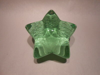 Fire & Light Handcrafted Recycled Glass Celery Green Star Paperweight w Gift Box