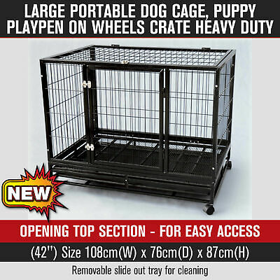 Portable Heavy Duty Large Dog Cage Puppy Playpen on Wheels Crate Black