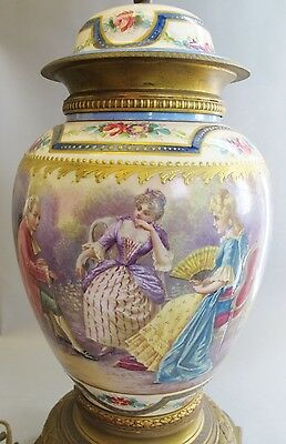 Superb Antique Hand-Painted SEVRES FRENCH Urn as Lamp in Full Surround   vase