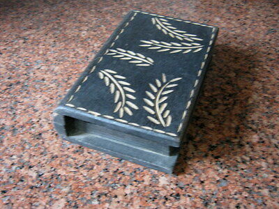 Vintage Old Wooden Book Shape Box , Leaves Engraved