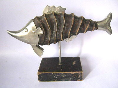 Antique Wooden Fish Trade Sign With Iron Fittings