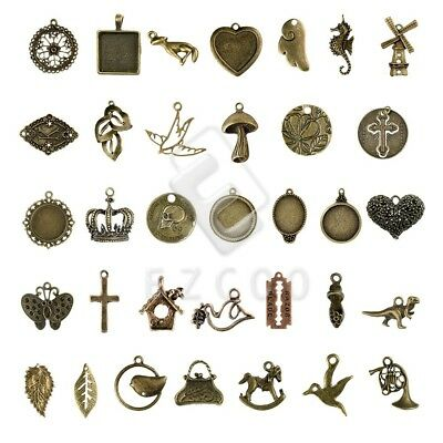 2-100pcs Antique Brass Metal Charm Pendant Spacer Jewelry Makings 35 style YB