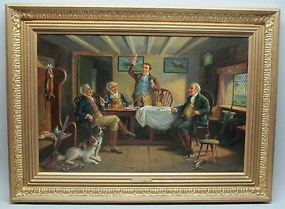 """Antique English Oil Painting  ALEXANDER AUSTEN  """"After the Days Sport""""  c. 1900"""