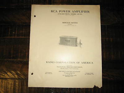 Vintage RCA Power Amplifier Serice Notes Catalog