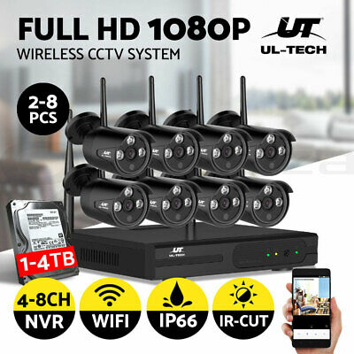 Wireless 1080P HDMI 5in1 8CH NVR 1500TVL Outdoor CCTV Security Camera System 1TB