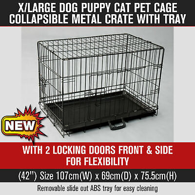 """XLarge Pet Cage Dog Puppy Cat Collapsible Metal Crate with Tray Black 42"""""""