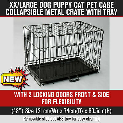 XXLarge Pet Cage Dog Puppy Cat Collapsible Metal Crate with Tray Black 48""
